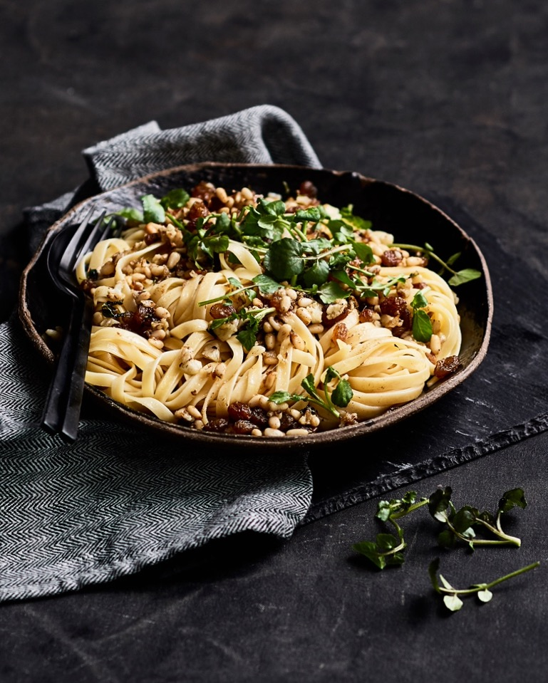 Anchovy and pine nut pasta food styling by Butter & Basil
