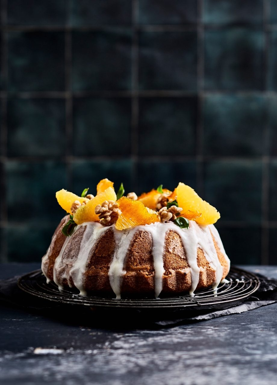 Orange walnut bundt cake food styling by Butter & Basil