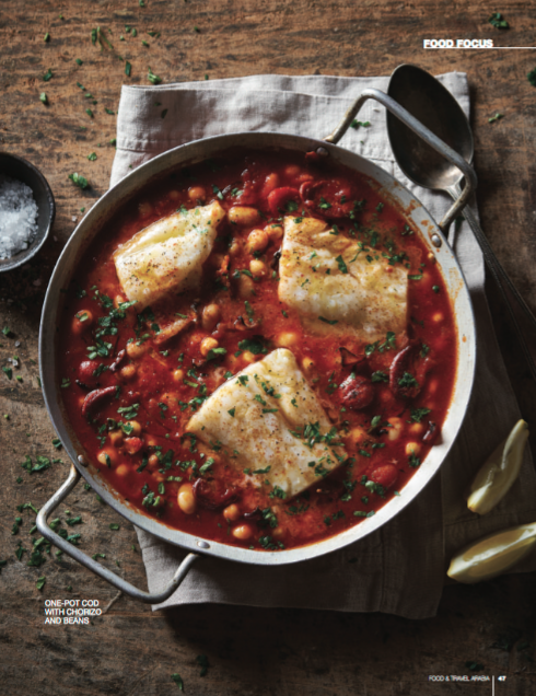 Cod chorizo stew food styling by Butter & Basil