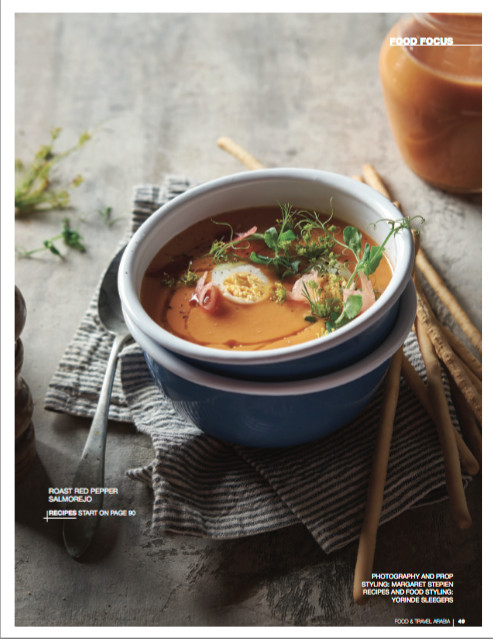 Salmorejo soup food styling by Butter & Basil