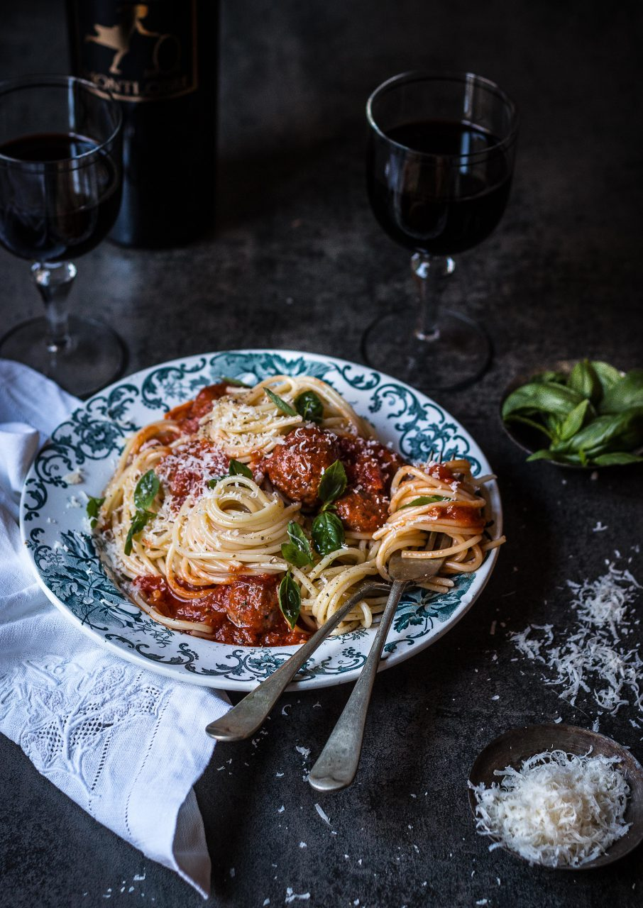 Pasta meatballs food styling by Butter & Basil